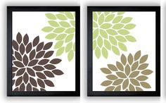 Flower Print Beige Brown Lime Green by CustomArtPrints on Etsy