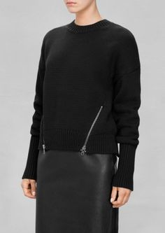 & Other Stories | Zip Detail Sweater  | Black