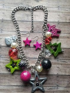 Christmas fashion https://www.etsy.com/listing/484931998/pink-christmas-necklace-set-gifts-for