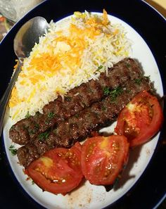 Kabab Koobideh-What to order in an Iranian restaurant rice recipe iranian food Lebanese Recipes, Turkish Recipes, Indian Food Recipes, Armenian Recipes, Persian Recipes, Iranian Dishes, Iranian Cuisine, Chelo Kebab, Chelo Kabab Recipe