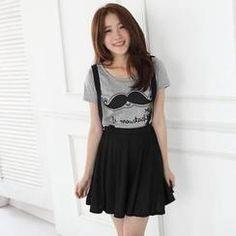 JVL - Set: Short-Sleeve Printed T-Shirt + Suspender Skirt