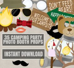 35 Camping Party Photo Booth Props Campsite by YouGrewPrintables