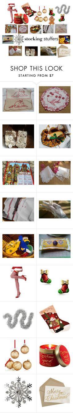 Linen and Lace Christmas Stocking Stuffer Under 25$ by sophieladydeparis on Polyvore featuring interior, interiors, interior design, maison, home decor, interior decorating, Fitz and Floyd, Lily-Flame, Holiday Lane and David Jones
