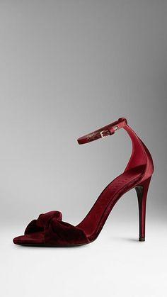 Sandálias com laço de veludo | Burberry