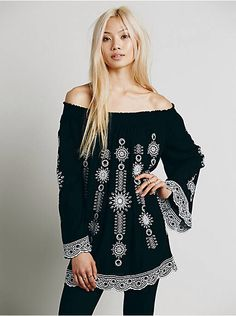 Free People Geo Embroidered Off the Shoulder Tunic, $148.00