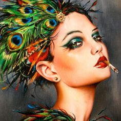 Cindy Sherman, Feather Painting, Feather Art, Peacock Feathers, Illustrations, Illustration Art, Detailed Paintings, Print Release, Smoke Art