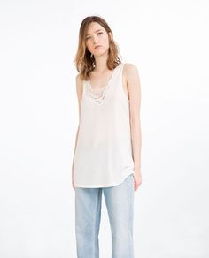 Image 1 of EMBROIDERED NECKLINE TOP from Zara