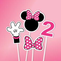 Minnie Mouse Centerpiece,  Any Age, DIY, Birthday Party, Minnie Mouse Centerpiece Set