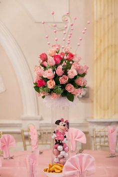 Minnie Mouse Birthday Party centerpieces!  See more party ideas at CatchMyParty.com!