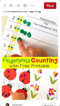 free printable for spring fingerprint counting activity for adorable math fun with kids - Free Printable Activities For 6 Year Olds
