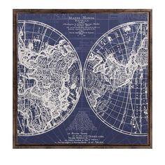 Harrington Framed Blue Map