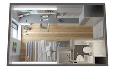 Student Living Design in 2015 Student Apartment, Student Room, Apartment Plans, Studio Apartment Layout, Apartment Design, Studio Floor Plans, 2 Bedroom House Plans, Tiny Apartments, Small Room Bedroom