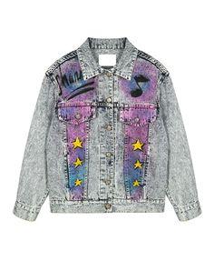 Stars Music Notes Tie-Dye Denim Jacket