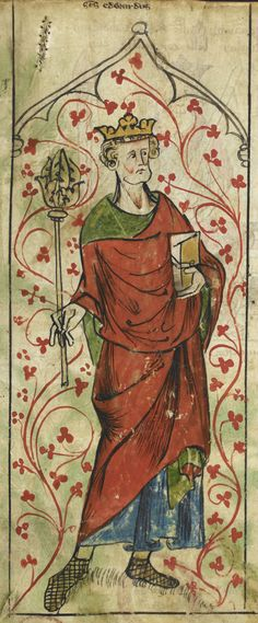 Edward the Confessor, holding a scepter and book. Miniature from the Chronicle of England of Peter de Langtoft, ca. 1307-1327. British Library, MS Royal 20 A.II fol. 5v.