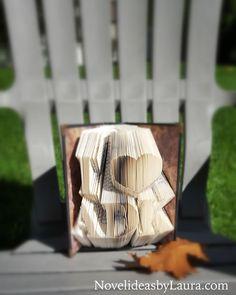 I ❤ ADK #book #paper #folding #art #bookfolding #bookfoldingart #origami #bookorigami #autumn #adirondacks #adirondackmountains #adirondackchairs #adirond#adirondackpark #adirondacksny #NY #heart #novelideasbylaura #bookart #love