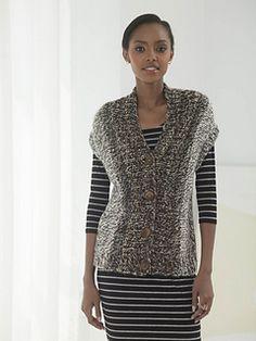 Lion Brand free pattern side to side sleeveless cardi