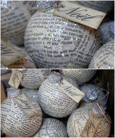 Straight From The Curls: Homemade Holiday Decoration made with vintage newspaper and glitter or music paper.