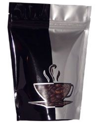 Black/Sliver Two Tone Standup Zipper Pouch with Cup Window 8 oz & 16 oz