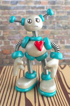 Teal Tim the Robot, pocket size desk companion by RobotsAreAwesome