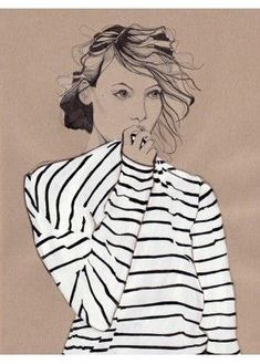 """""""I love stripes 2"""" by Van den Heuvel Daphne. ...And I love the contrast between the shirt and her face!:"""