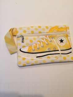 High Top Shoe Zippered Pouch, Yellow and White, Bag, Wristlet by JazzyJoDesigns on Etsy