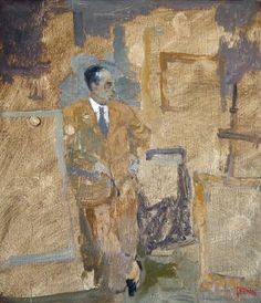 Artist: Anthony Dubovsky, Title: Alfred Flechtheim - The European Art Dealer////The painter Anthony Dubovsky was born in San Diego, California, in 1945.////Alfred Flechtheim - The European Art Dealer 1997, oil on panel 13.5 x 11.75 inches