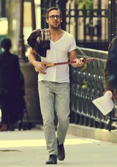 Ryan Gosling with a. . .what is that instrument?