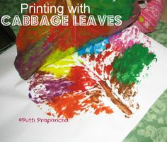 Have you ever noticed how big the cabbage leaves are? We made some beautiful big leaf printing with them...