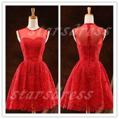 Red Lace Sheer Neck Short Bridesmaid Dresses by starsdress on Etsy, $85.99