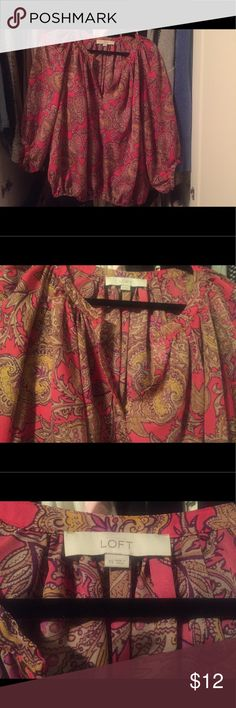 Pink paisley peasant top Cute pink and yellow paisley peasant top with split neck top LOFT Tops Blouses