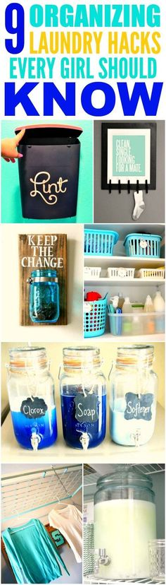 These 9 organizing laundry hacks are THE BEST! I'm so glad I found these AWESOME tips! Now I have some cute ways to organize my laundry room Definitely pinning for later!