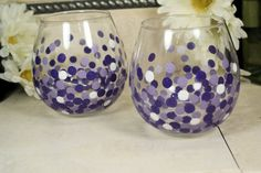 For the special people in your life serve the wine in unique style. Set of 2 $24.00.  Handpainted Stemless Wine Glasses: Colorful by MyCreativeTable