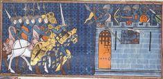Soldaten mit Armbrüsten, BL Royal 16 G VI Chroniques de France ou de St Denis, fol. 168v, 1332-1350, Paris.