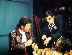 Leonard Nimoy directing DeForrest Kelley and William Shatner in Star Trek 3: The Search for Spock