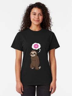 """Sloth Thinking Love"" T-shirt by jonmlam Cute Sloth, Funny Sloth, Sloth Shirt, Skate Wear, Love T Shirt, Cute Tshirts, T Shirts For Women, Clothes For Women, Love S"