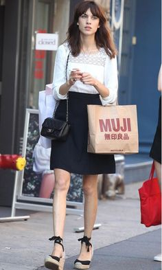 Alexa Chung carrying a Chanel bag in New York