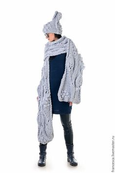 63c2d5d45e541b Cashmere Hand Knit Winter Woman s Hat Beanie Slouchy Scarf. Designer ...