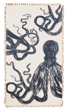 Octopus Sketch Cotton/Silk Scarf