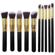 KLAREN 10 Pieces Professional Foundation Blending Blush Eye Face Liquid Powder Cream Cosmetics Brushes -- For more information, visit image link.