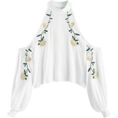 Smocked Cold Shoulder Floral Embroidered Blouse ($30) ❤ liked on Polyvore featuring tops, blouses, smocked top, white top, open shoulder blouse, open shoulder tops and cut out shoulder blouse
