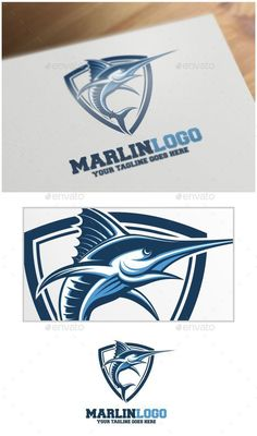 Marlin Logo Template by VectorCrow Logo template suitable for businesses and product names. Easy to edit, change size, color and text. CMYK Ai, and EPS formats fully