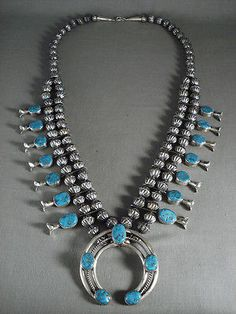 MUSEUM-VINTAGE-NAVAJO-TURQUOISE-034-034-HOGAN-STERLING-034-034-SQUASH-BLOSSOM-NECKLACE