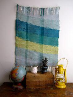 handwoven rag rug in the Pilgrim shop.