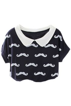 Moustache Print Black T-shirt #ROMWE