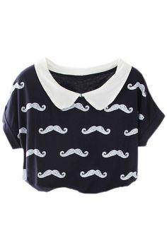 Moustache Print Black T-shirt #ROMWE