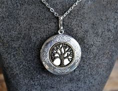 Tree of Life Locket Silver Locket Round Locket Two by LKArtChic