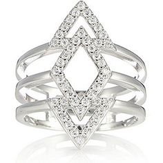 Diamonique 0.4ct tw Geometric Ring Sterling Silver