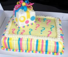 The unknown baby sex cake. Everyone loved the idea. The gift box was cake too.