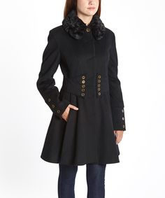Love this Black Button Wool-Blend Coat by Betsey Johnson on #zulily! #zulilyfinds