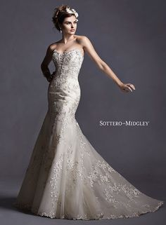 Lace fit and flare wedding dress with plunging neckline and metallic lace appliques, Maddalena by Sottero and Midgley.